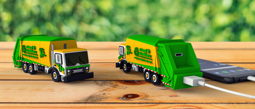 Flood Brothers Garbage Truck Replica | Custom Shape Power Bank with USB Type-C Port