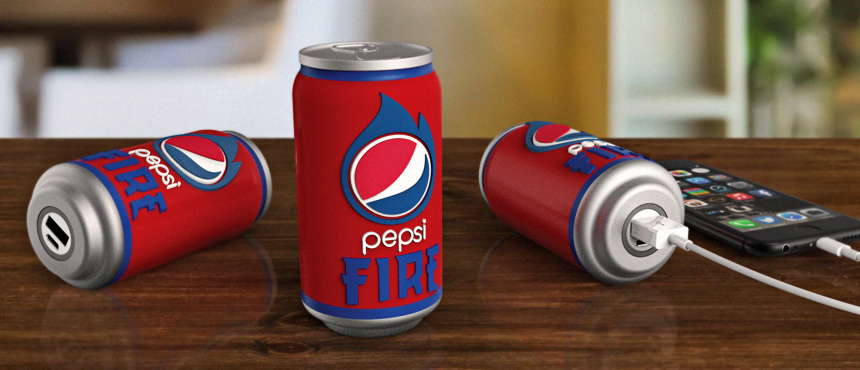 Pepsi Fire Cola | Custom Shaped Power Bank